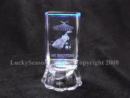 "2.5"" baptism baby ""mi bautizo"" engraved crystal with lights"