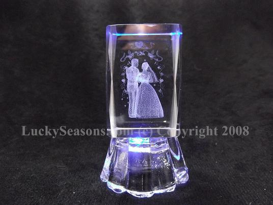 "2.5"" bride and groom crystal with lights"