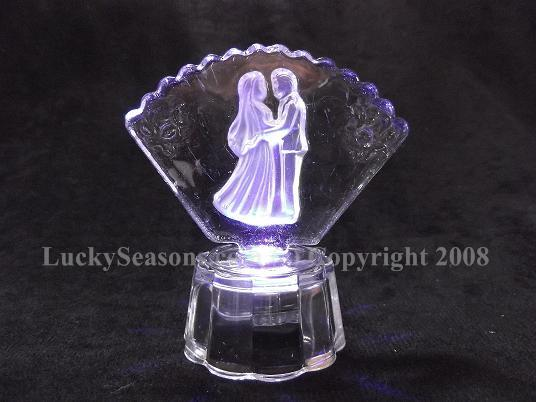 "3"" fan shaped crystal bride and groom with lights"