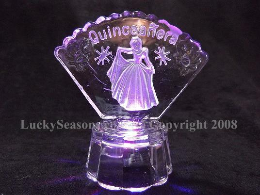 "3"" fan shaped crystal with cinderella "" quinceanera"" engraved"