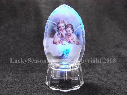 "3.5"" crystal with color baby with angels praying"