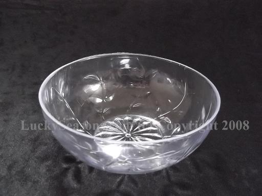 "4.5"" Clear Bowl with leaf decoration"
