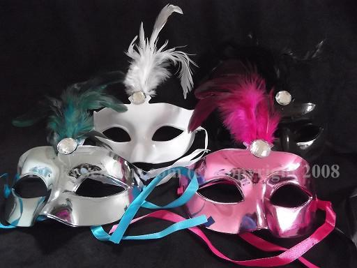 "9"" Mask with Feather and Acrylic Jewel"
