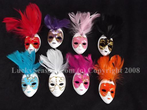 "3.5"" Magnet Mask with Feather and acrylic jewel"