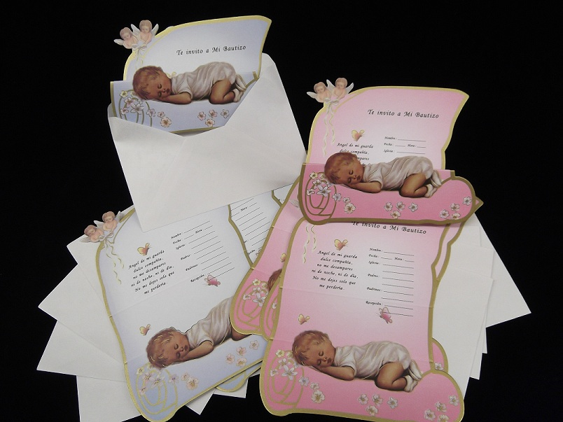 "6.75"" Mi Bautizo w/ Angels Invitations"
