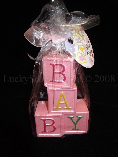 "4"" ""Baby"" Pink Block Candles"