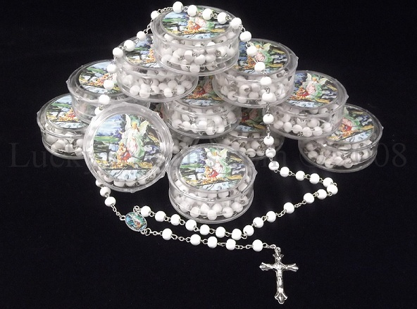 "2.5"" Decorative Gift Box w/ 19"" Scented Rosary-Baptism"