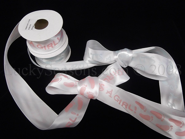 "1.5"" Satin Baby Feet and ""It's a Boy/Girl"" ribbon"