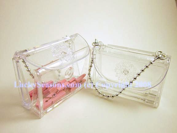 "2.5"" plastic fillable purse w/pearl handle"