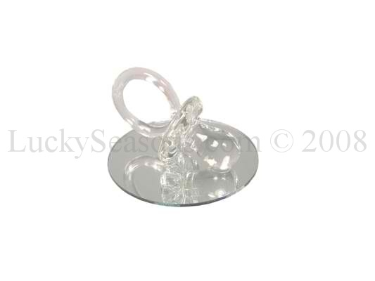 "2.5"" Crystal Glass Pacifier w/ Mirrored Base"