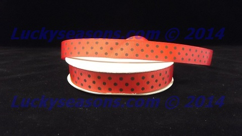 "5/8"" Grosgrain Ladybug Red with Black Polka Dots (25 yrds)"