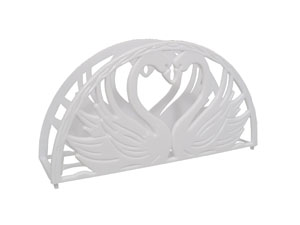 "7"" Napkin Holder - Double Swan Heart Design"