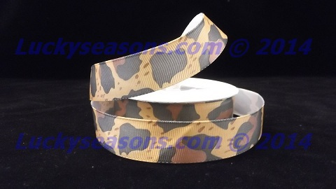 "7/8"" Grosgrain Cheetah Ribbon (25 yrds)"