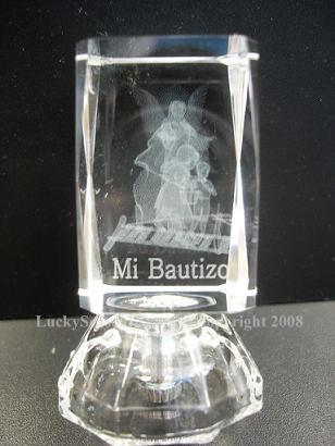"2.5"" kids with guardian angel 'mi bautizo"" engraved with lights"