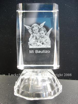 "2.5"" baby with angels ""mi bautizo"" engraved crystal with lights"